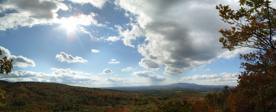 The view from low on the side of Pack Monadnock South, looking towards Monadnock.
